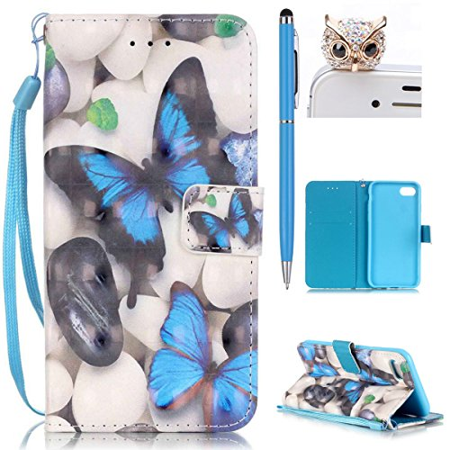 iPhone 7 Hülle,iPhone 7 Tasche iPhone 7 Case - Felfy Flip Bookstyle PU Ledertasche Strap Standfunktion Magnetverschluss Luxe Ledertasche Painted Muster Bunte Malerei Retro Painted Abdeckung Mit Standf Blue Butterfly