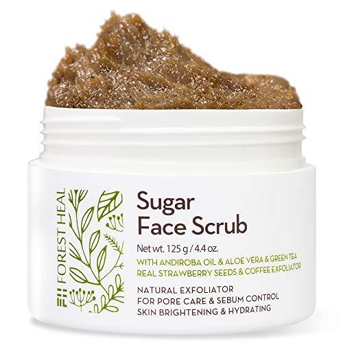 Keine Tierversuche-cruelty Free ([Forest Heal] Sugar Face-Peeling mit Aloe Vera & grünem Tee, Andiroba-Öl und echten Erdbeersamen, natürliches Peeling für Porenpflege und Sebum-Kontrolle, Hautaufhellung und Hydratisierung)