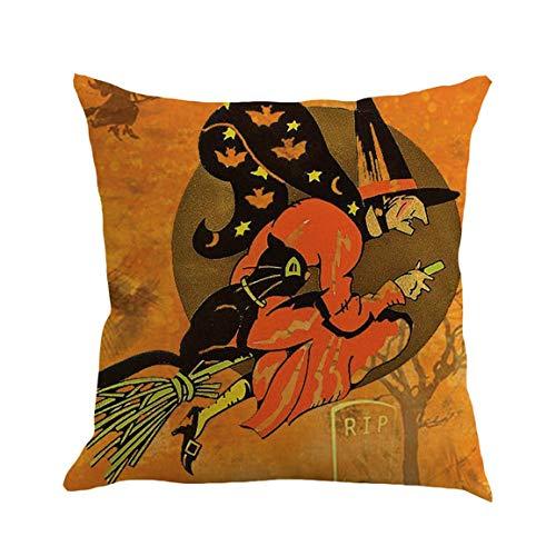 Moonuy Happy Halloween 45cmX45cm Kissenbezüge Happy Fall Yall Leinen Sofa Kissenbezug Lendenkissenbezug