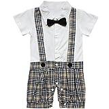 EFE Bébé Garçon Gentleman Romper à Tartan écossais avec Noeud Cravate Combinaison Jumpsuit 6-18 Mois (12-18 Mois, Blanc écossais)
