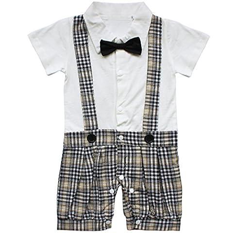EFE Vêtement de bébé Manche courte Barboteuse Baptême Cérémonie Salopette