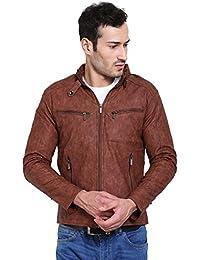 Derbenny Dark Tan Pu Leather Jacket For Men