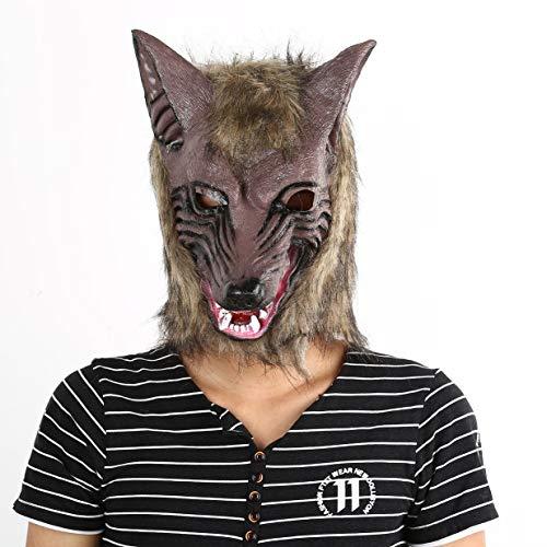(banbie8409 Erwachsene und Kinder Latex Tier Wolf-Kopf mit Haarmaske Kostüm-Party Scary Halloween mit Grauer Farbe)