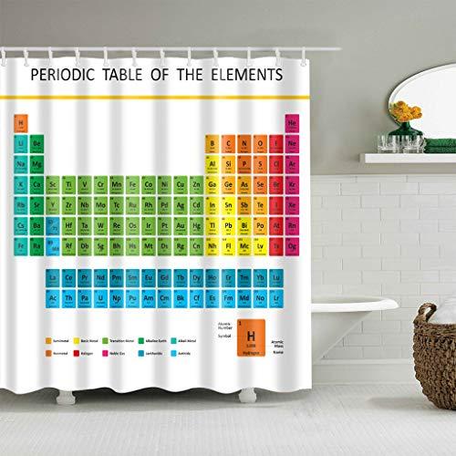 WENHUI Chemische Element-Tabelle auf weißem Hintergrund Badezimmerduschvorhang-dauerhaftes Gewebeschimmelbadezimmerzubehör kreativ mit 12 Haken 180X180CM (Chemische Tabelle)