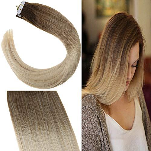 e3af138f3dcc3f YoungSee 20 Stuck Tape Extensions Echthaar Ombre Braun mit Blond Balayage  Haarverlangerung Echthaar Tape Human Hair