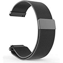 BlueBeach® 22mm Milanese Mesh Acero Inoxidable Sustitución de la correa de pulsera Con cerradura magnética para Pebble Time / Motorola 360 2nd Gen / Samsung Gear 2 R380 R381 R382 / LG G Watch W100 / LG G Watch R W110 / LG Watch Urbane W150 / Asus ZenWatch / Asus Vivowatch (Negro)