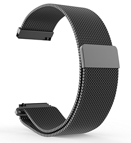 BlueBeach® 22mm Acier Inoxydable Milanese Mesh Remplacement Band Bande Strap Bracelet Chaîne Montre Avec serrure magnétique pour Pebble Time / Motorola 360 2nd Gen / Samsung Gear 2 R380 R381 R382 / LG G Watch W100 / LG G Watch R W110 / LG Watch Urbane W150 / Asus ZenWatch / Asus Vivowatch (Noir)