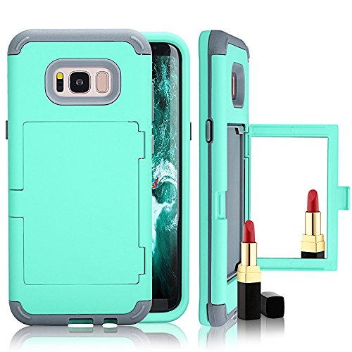 Galaxy S8 Plus Card Holder Kickstand Hülle, Lantier Built-In Mirror Dual Layer Defense Wallet High Impact Shock Absorbing Hard PC Soft TPU Hybrid Protective Case für Samsung Galaxy S8 Plus Grün