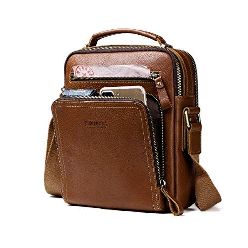 Herren 8in Leder (Contacts Echtes Leder Herren iPad Mini Tab Messenger Crossbody Tasche Handtasche Braun)