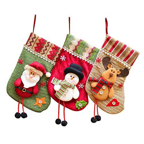 Tenrany home camino calza di natale, 3d babbo natale pupazzo di neve e elk calze natalizie da appendere candy sacchetti regalo per albero di natale festa di natale decorazioni (3 pezzi)