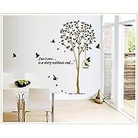 Pegatinas de Pared Pegatinas de Vinilo de Frases Árboles y Pájaros para Dormitorio y Salón Decoración de Pared
