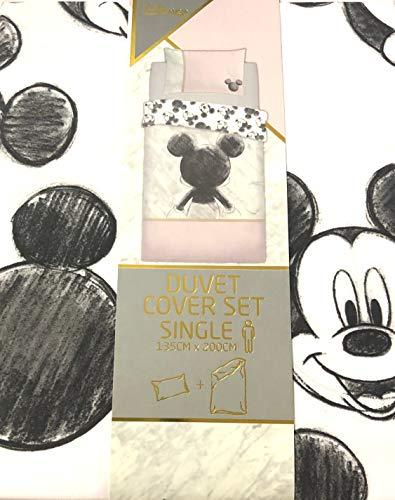 Primark Conjunto de Funda de Edredón Individual más Funda de Almohada Mickey Mouse Disney Oficial