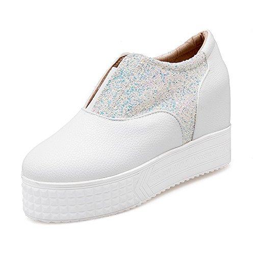 VogueZone009 Damen Rund Zehe Ziehen Auf Blend-Materialien Rein Hoher Absatz Pumps Schuhe Weiß