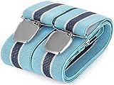 Hosenträger für Herren breit extra starken 3.5 cm mit 3er Clips Y Form lange für Männer und Damen Elegant Hose alle Farbe (Himmelblau 5)