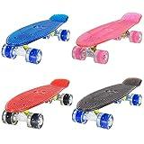 LAND SURFER® Skateboard Cruiser Retro Completo 56cm con tavola nera - cuscinetti ABEC-7 - Ruote viole LED che si illuminano 59mm PU + borsa per il trasporto