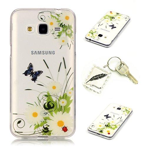 Preisvergleich Produktbild Silikonsoftshell TPU Hülle für Samsung Galaxy J3 (2016) /J310 (5,0 Zoll) Tasche Schutz Hülle Case Cover Etui Strass Schutz schutzhülle Bumper Schale Silicone case+Exquisite key chain X1) #KG (9)