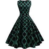 MRULIC Damen Ballkleider Vintage Note Muster ärmelloses Abend Party Prom Swing Kleid Rockabilly Retro Kleid Petticoat Faltenrock(Grün,EU-38/CN-M)