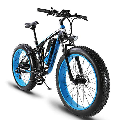 51tSVpkYPXL. SS500  - Cyrusher XF800 26inch Fat Tire Electric Bike 1000W 48V Snow E-Bike Shimano 7 Speeds Beach Cruiser Mens Women Mountain e-Bike Pedal Assist, Lithium Battery Hydraulic Disc Brakes