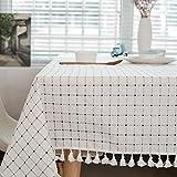 Meiosuns Tischdecke Tischdecke Stoff Karierte Tischdecken im mediterranen Stil Frische und kunstvolle Tischdecken aus Baumwolle und Quasten Rechteckige Couchtisch Tischdecken(130 * 180cm)