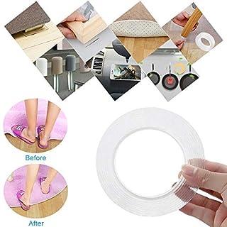 DAYNEW Waschbares Spurloses Klebeband, Nano Entfernbares Doppelseitiges Klebeband Transparent, Wiederverwendbares Waschbares Klebeband für Wände, Küche, Teppichbefestigung, Einfügen von Fotos (3M)