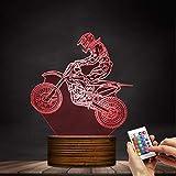 XINSU HOME Lampada da scrivania con display illuminato da bici in fibra di sporcizia, lampada da notte moderna Motorcross con cambio di colore e regalo con telecomando per i motociclisti freestyle Mot