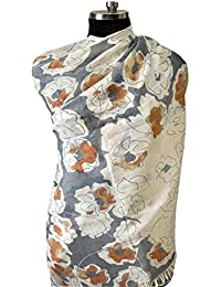 Elabore Luxury 100% Wool Printed Women's Stoles With Grey Floral Print