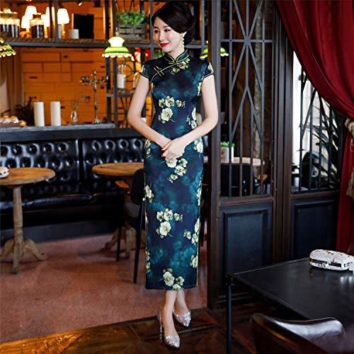 YAN Damendress Satin Mini Cheongsam Stand Collar Short Sleeve Robe Sexy Ladies China Qipao Festival, 1,M (Mini-kleid Blossom)