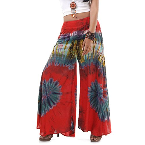 Princess of Asia Extrem Weite Damen Hippie Ethno Goa Thai Hose Schlaghose 36 38 40 S M (Rot)