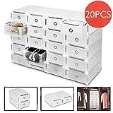 Voilmart 20 x Schuhaufbewahrung Schuhbox Schuhkasten Stapelbox Schuhkarton Aufbewahrungsbox