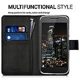 kwmobile Wallet Case Hülle für > Motorola Moto G4 Play < - Cover Flip Tasche mit Kartenfach und Ständerfunktion in Schwarz - 4