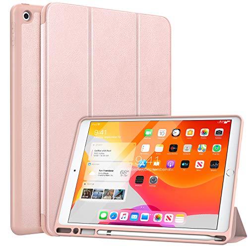 MoKo Schutzhülle für iPad 7th Gen 2019 (25,7 cm / 10,2 Zoll) mit Apple Stifthalter, schlankes Design, mit Standfunktion, automatische Aufwach- und Schlafmodus, Rotgold (Ipad Defender Case 4. Generation)
