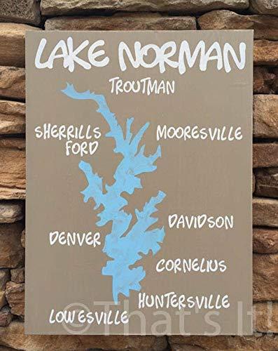 JeremyHar75 Lake Norman Karte, handbemalt, Holzschild, North Carolina, Lake Norman Kunst, Seeschild, nautische Dekoration, nautische Karte, Einweihungsgeschenk