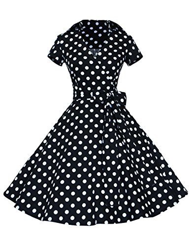 Dresstells Rockabilly Kleid 1950er Retro Polka Dots Kurz Faltenrock Petticoat Cocktailkleid Black Dot XL