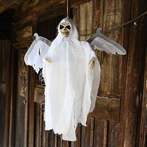 Inovey Neue Halloween Party Dekoration Sound Control Gruselig Beängstigend Animierte Skelett Hängend Ghost - Weiß