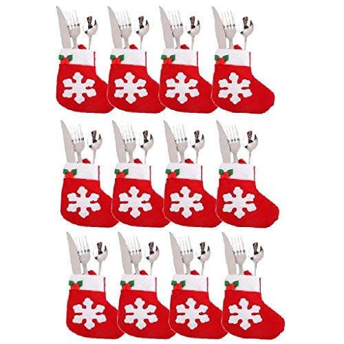 12 PCS Christmas Cutlery Bag, BuycheapDG Christmas Cutlery Bags Cutlery Holder Xmas Party Dining Table Decoration Christmas Gift - Christmas socks 3