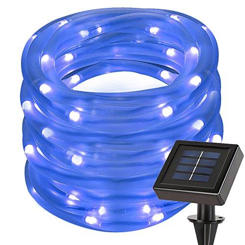 LE 12M 100 LEDs Guirlande lumineuse Solaire, Bleue, Tube Lumineux LED, Étanche, avec panneaux solaires, Décoration pour Noël/ Fête/ Mariage