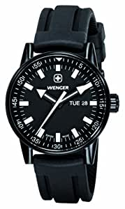 Wenger Mens Watch 70175 with Black Dial and Black Rubber Strap