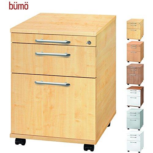 Bümö® Rollcontainer mit 2 Schüben & Schloss | Bürocontainer aus Holz | Tischcontainer mit