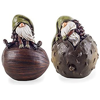 set of two unusual grey rockery gnome garden ornaments. Black Bedroom Furniture Sets. Home Design Ideas
