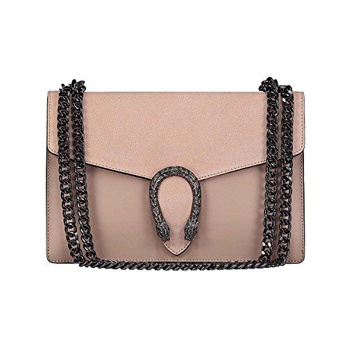 #MYITALIANBAG RONDA Umhängetasche Handtasche mit Kette und Schließen von Zubehör metallischen dunklem Nickel, Glatteleder und Wildleder, Hergestellt in Italien (farbpulver)