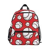 Kinderrucksack Red Baseball Kindergarten Vorschule Tasche für Kleinkind Mädchen Jungen