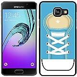 funda carcasa para Samsung Galaxy A5 2016 zapatilla cordones color azul borde negro
