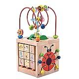 QHWJ Holzwürfel Spielzeug, Perle Labyrinth Spiel 6 in 1 Multifunktions Käfer Runde Perle Box Lernen Spielzeug Kinder Geschenke