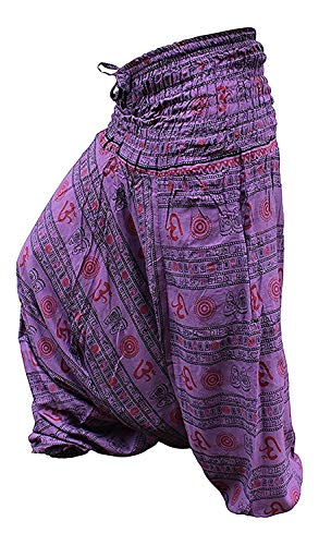 Shopoholic Fashion - Pantaloni da yoga, motivo: stampa con simbolo Om, vestibilità comoda, pantaloni harem larghi, Hippy L.lila Taglia unica