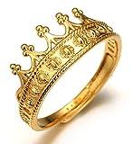 Halukakah El oro real 18k de los hombres plateó el 'tamaño del anillo de la corona de la ATERRIZAJE de los REYES' ajustable (solo anillo)