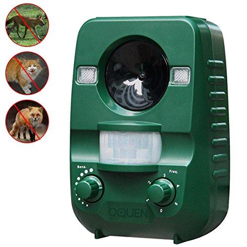Solar Katzenschreck Ultraschall Tiervertreiber Vogelschreck Wasserdicht Hundeschreck mit LED Blinklicht Marderschreck Waschbärvertreiber mit Alu-Erdspieß im Garten und in der Garage(Grün)