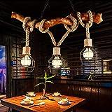 Antique lustre Vintage en bois lampe suspendue avec Iron Cage Restaurant Bar Café Chanvre Corde E27 Lustre en bois