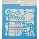 Rebecca Baer RB-LARGE-1206 Stencil 11.75 x 11.75 in. - Secret Garden