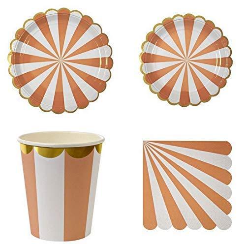 Polka Dot Sky Pastell Gestreift Geburtstagsfeier Geschirr Packung Teller Becher Servietten Gold Folie Rand Leuchtende Farben 8 Pack (32pcs) - Rosa, 9 inch