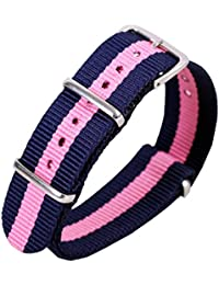 20mm azul oscuro / rosa hombres de lujo exquisito de una sola pieza NATO estilo perlón de nylon bandas bandas